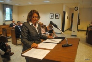 Copeland addresses commissioners today.
