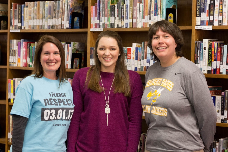 Myers, center, with counselor Jessica Elias, left, and Assistant Principal Julie Thompson.